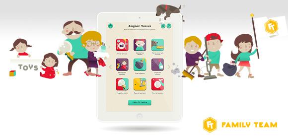 Imagen de una tablet con la App Family Team