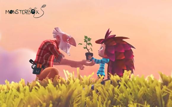 Imagen de amistad en el cortometraje Monsterbox
