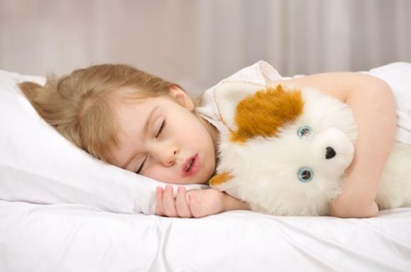 Niña durmiendo las siesta con su peluche