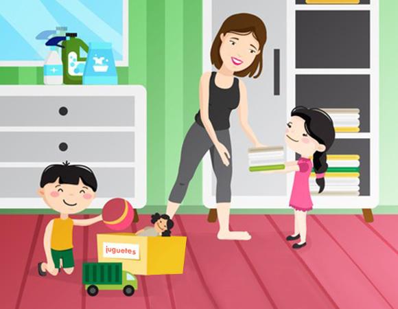 Niños ayudando a su mamá a ordenar su habitación