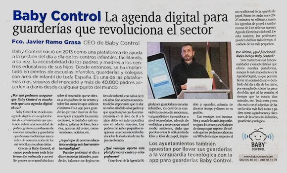 Recorte de prensa de entrevista al director de Baby Control en el periódico El Mundo