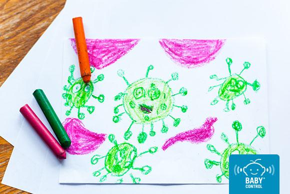Dibujo de un niño del virus covid-19